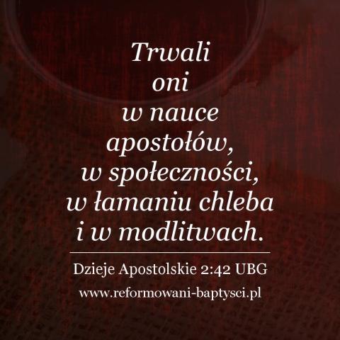 """Reformowani Baptyści Zbór w Zielonej Górze: """"Trwali oni w nauce apostołów, w społeczności, w łamaniu chleba i w modlitwach"""" (Dz 2:42 UBG)."""