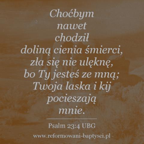 """Reformowani Baptyści Zbór w Zielonej Górze: """"Choćbym nawet chodził doliną cienia śmierci, zła się nie ulęknę, bo Ty jesteś ze mną; Twoja laska i kij pocieszają mnie"""" (Ps 23:4 UBG)."""